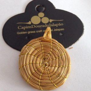 Pingente de Capim Dourado com Mandala