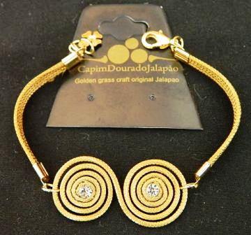 Pulseira  em capim dourado Modelo Caracol com Strass e Pedacinhos