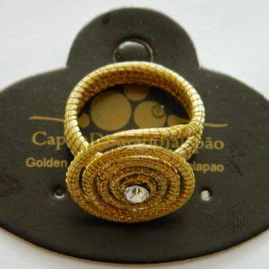 Anel em capim dourado   modelos redondo com Strass