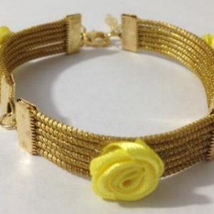 Pulseira Flor de Cetim Yellow