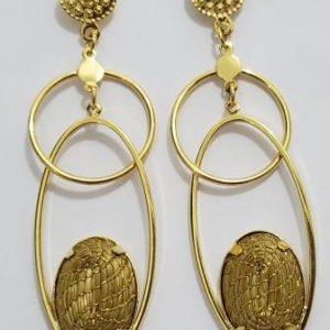 Brinco em capim dourado modelos elos ovais